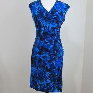 Chaps Dress Bodycon Blue Floral M Sleeveless